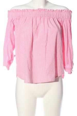 H&M Blouse Carmen rose-blanc motif à carreaux style décontracté