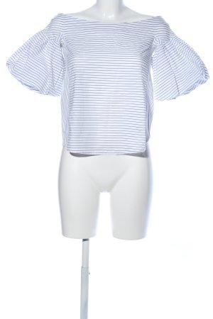 H&M Blouse Carmen bleu-blanc motif rayé style décontracté