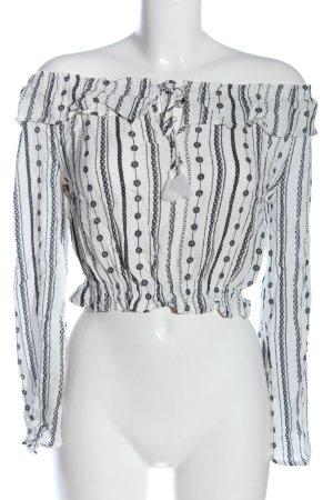 H&M Bluzka typu carmen biały-czarny Łączone wzory W stylu casual