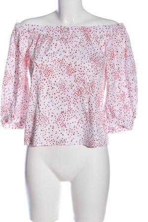 H&M Carmen blouse wit-rood gestippeld patroon casual uitstraling