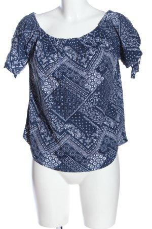 H&M Carmen-Bluse blau-weiß abstraktes Muster Casual-Look