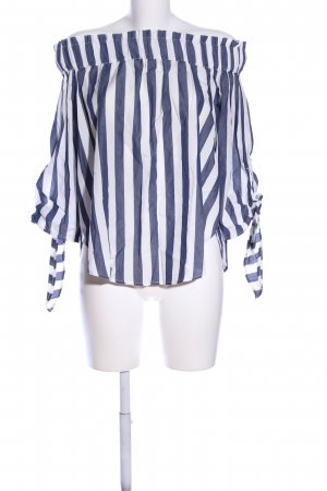 H&M Carmen-Bluse weiß-blau Streifenmuster Casual-Look