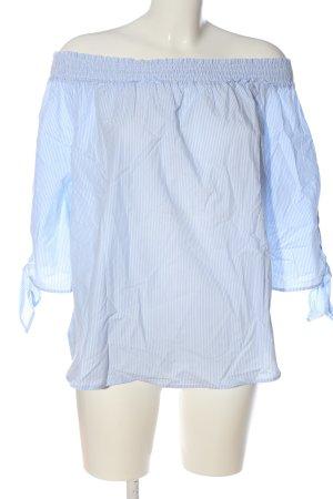 H&M Blusa tipo Carmen azul-blanco estampado a rayas look casual