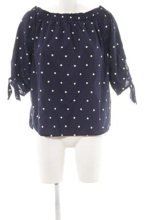 H&M Carmen-Bluse blau-weiß Punktemuster Casual-Look