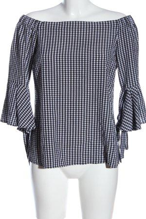 H&M Carmen-Bluse schwarz-weiß Karomuster Casual-Look