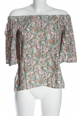 H&M Carmen-Bluse pink-grün Allover-Druck Casual-Look