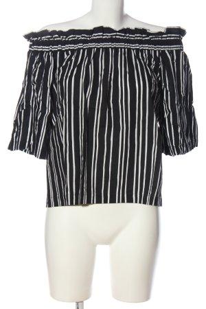 H&M Blusa alla Carmen nero-bianco motivo a righe stile casual