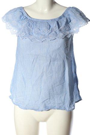H&M Carmen-Bluse blau-weiß Allover-Druck Elegant