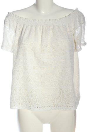 H&M Blusa tipo Carmen blanco estampado repetido sobre toda la superficie