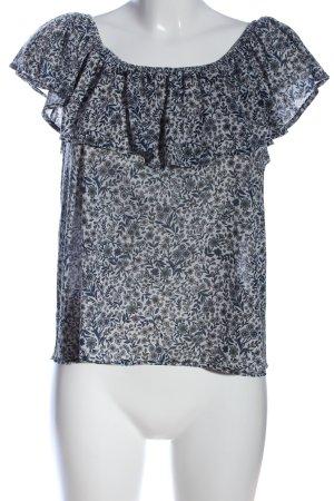 H&M Carmen-Bluse weiß-blau Blumenmuster Casual-Look