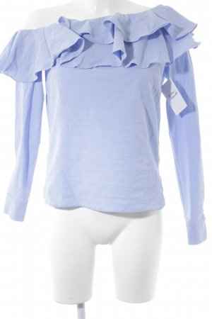 H&M Carmen blouse azuur-wit gestreept patroon straat-mode uitstraling