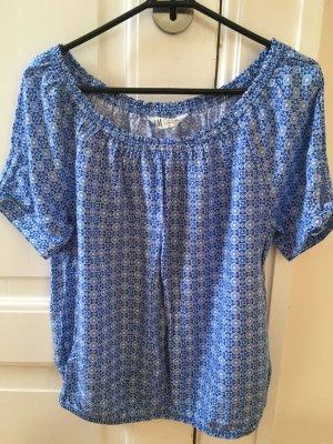 H&M Bluzka typu carmen biały-niebieski neonowy Bawełna