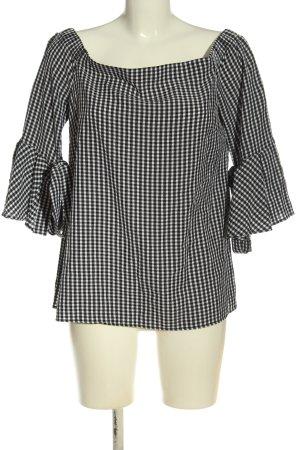 H&M Carmen-Bluse weiß-schwarz Allover-Druck schlichter Stil
