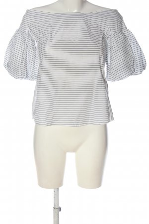 H&M Carmen shirt wit-blauw gestreept patroon casual uitstraling