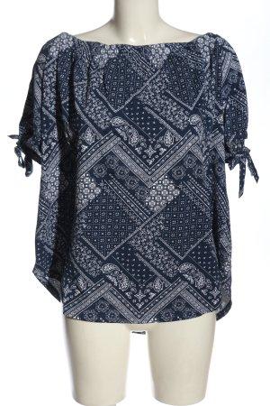 H&M Koszula typu carmen niebieski-biały Na całej powierzchni W stylu casual