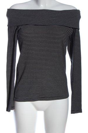 H&M Carmenshirt schwarz-weiß Streifenmuster Casual-Look