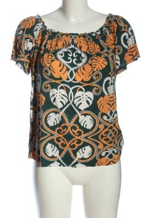 H&M Top épaules dénudées vert-orange clair imprimé avec thème