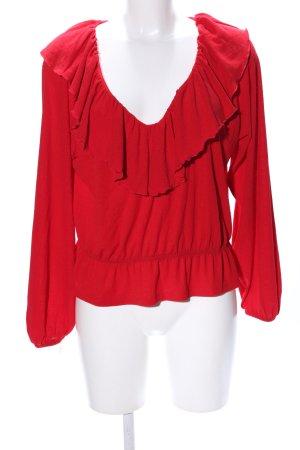 H&M Camisa tipo Carmen rojo look casual