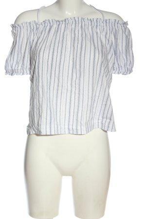 H&M Carmenshirt weiß-blau Streifenmuster Casual-Look