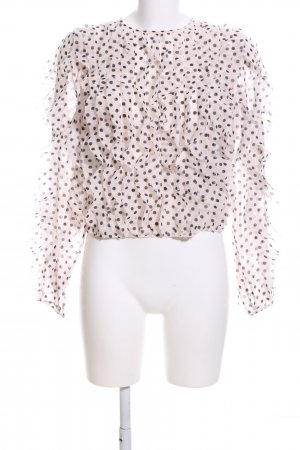 H&M Camisa tipo Carmen marrón-crema estampado a lunares look casual