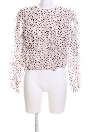 H&M Carmenshirt braun-creme Punktemuster Casual-Look