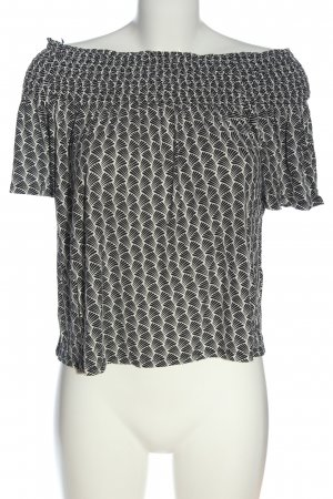H&M Carmenshirt schwarz-weiß Allover-Druck Casual-Look