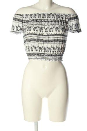H&M Carmenshirt weiß-schwarz Allover-Druck Casual-Look