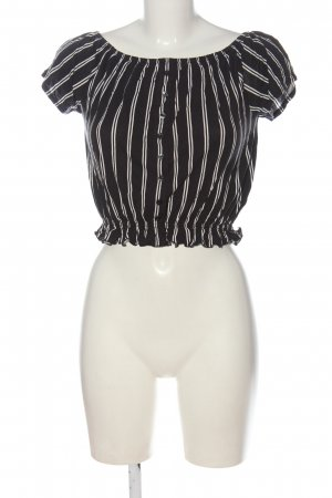 H&M Carmen shirt zwart-wit volledige print casual uitstraling