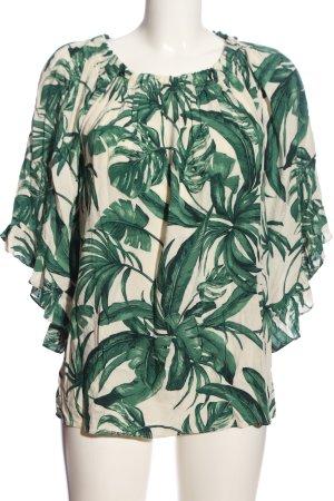 H&M Carmenshirt grün-wollweiß Allover-Druck Casual-Look