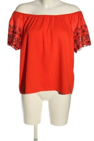 H&M Camisa tipo Carmen naranja claro-negro estampado gráfico look casual