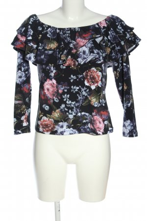 H&M Carmen shirt blauw-roze volledige print casual uitstraling
