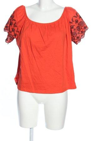 H&M Carmenshirt hellorange-schwarz Blumenmuster Casual-Look