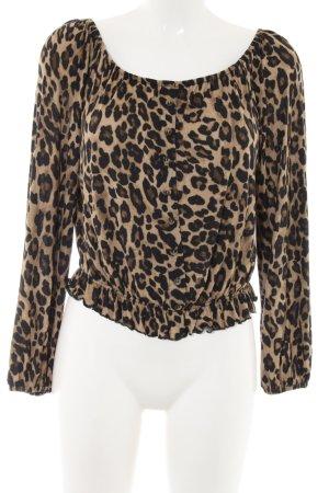 H&M Carmenshirt braun-creme Allover-Druck extravaganter Stil