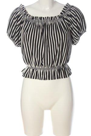 H&M Top épaules dénudées noir-blanc motif rayé style décontracté