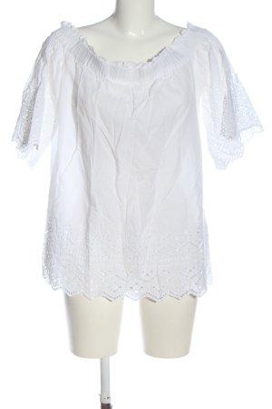 H&M Top épaules dénudées blanc lettrage brodé style décontracté
