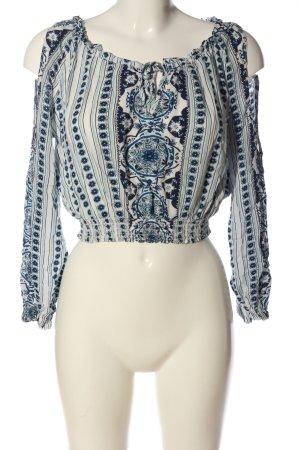 H&M Carmen shirt wit-blauw grafisch patroon casual uitstraling