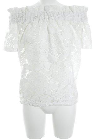 H&M Carmenshirt weiß abstraktes Muster Casual-Look