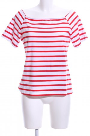 H&M Carmen Shirt white-red striped pattern casual look