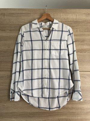 H&M casual Bluse, weiß / blau kariert