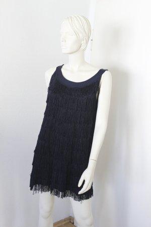 H&M Vestido con flecos azul oscuro Poliéster