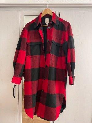 H&M Manteau oversized noir-rouge brique tissu mixte