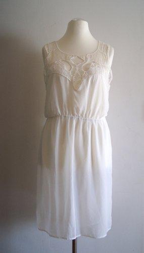 H&M Chiffon-Kleid Cut-Outs, weiß, Gr. 42 NEU