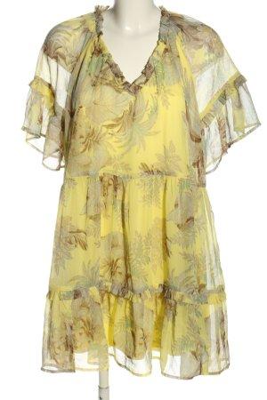 H&M Szyfonowa sukienka bladożółty-w kolorze białej wełny W stylu casual