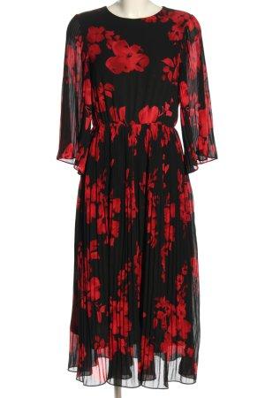 H&M Szyfonowa sukienka czarny-czerwony Na całej powierzchni W stylu casual