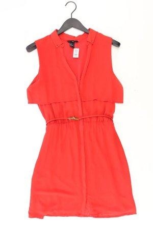 H&M Chiffonkleid Größe 38 mit Gürtel Kurzarm rot