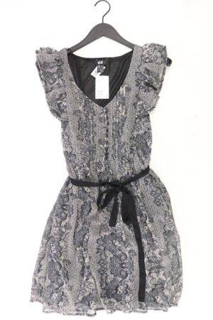 H&M Chiffonkleid Größe 38 neu mit Etikett mit Gürtel Kurzarm grau aus Polyester