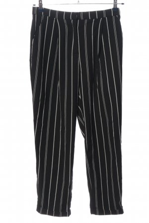 H&M Chinohose schwarz-weiß Streifenmuster Casual-Look