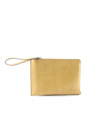 H&M Borsa clutch giallo pallido motivo animale stile casual