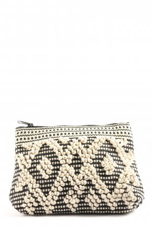 H&M Clutch schwarz-creme Allover-Druck Casual-Look