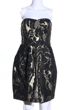 H&M Cocktailkleid schwarz-creme abstraktes Muster Elegant